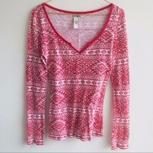 Lucky Brand Red Print Long Sleeve Thermal Top